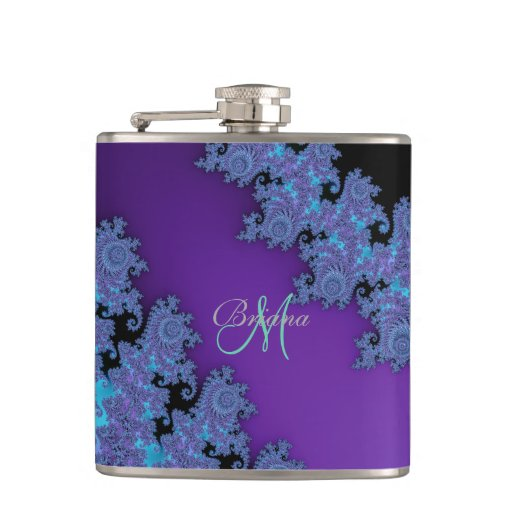 Personalized Purple Fractal Monogram Flask