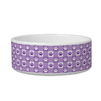 Personalized Purple Gingham with Paws and Bone Bowl
