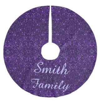 Personalized Purple Glitter Christmas Tree Skirt