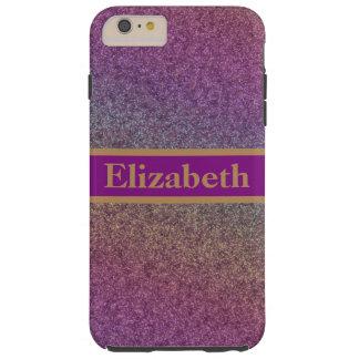 Personalized Purple Glitter Faux Foil Confetti Tough iPhone 6 Plus Case