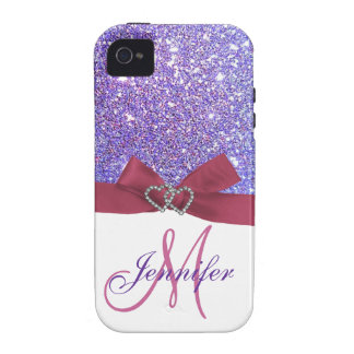 Personalized Purple Glitter Pink Printed Bow Case-Mate iPhone 4 Case