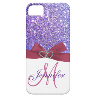 Personalized Purple Glitter, Pink Printed Bow iPhone 5 Case