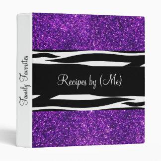 Personalized Purple Glitter Zebra Striped Recipe Binder