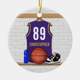 Personalized Purple Gold Basketball Jersey Ceramic Ornament