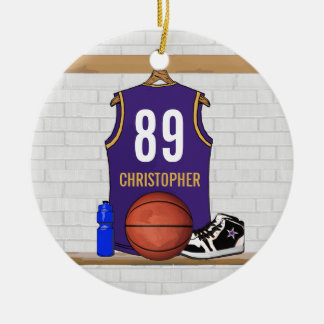 Personalized Purple Gold Basketball Jersey Ornaments
