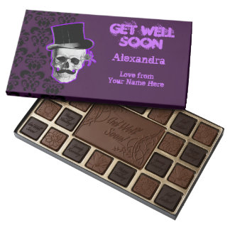 Personalized purple gothic get well assorted chocolates