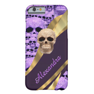 Personalized purple gothic skull barely there iPhone 6 case