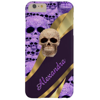 Personalized purple gothic skull barely there iPhone 6 plus case