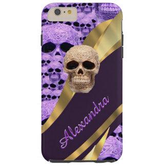 Personalized purple gothic skull tough iPhone 6 plus case