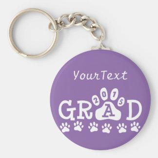 Personalized Purple GRAD 2015 PAWS Graduation Basic Round Button Keychain