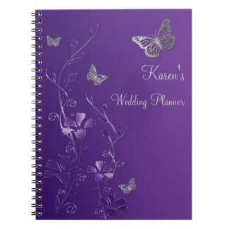 Personalized Purple Gray Butterfly Floral Notebook fuji_notebook