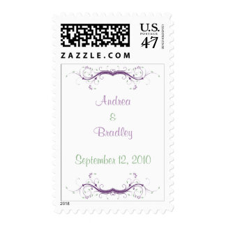 Personalized Purple Green Scroll Wedding Stamp