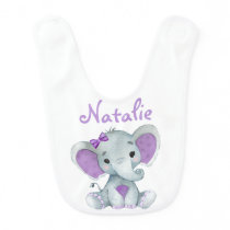 Personalized Purple Gryy Girl Elephant Baby Bibs