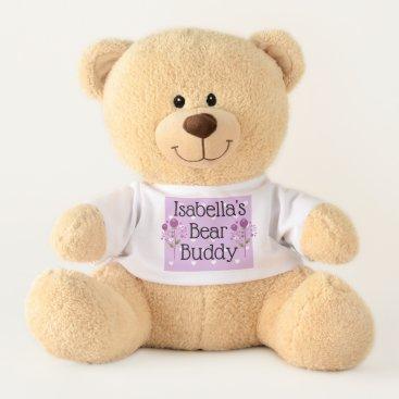 Beach Themed Personalized Purple Hearts Teddy Bear