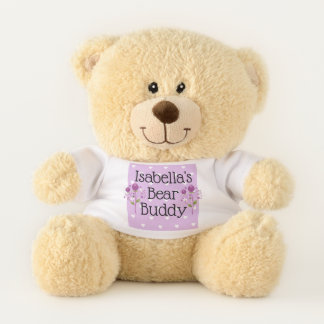 Personalized Purple Hearts Teddy Bear