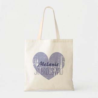 Personalized purple junior bridesmaid tote bag