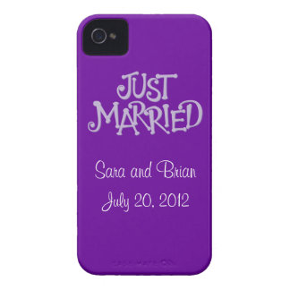 Personalized Purple Just Married iPhone 4 Case