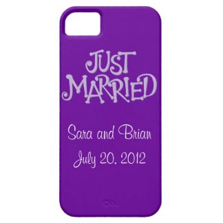 Personalized Purple Just Married iPhone 5 Case