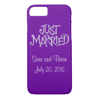 Personalized Purple Just Married iPhone 7 case
