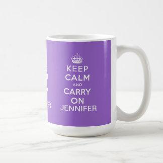 Personalized Purple Keep Calm and Carry On Coffee Mug