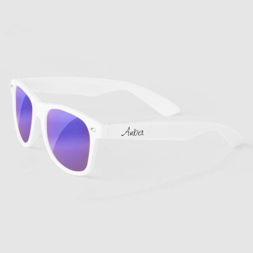 Personalized purple lense White Sunglasses