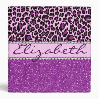 Personalized Purple Leopard Print Glitter Binder