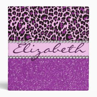 Personalized Purple Leopard Print Glitter Binder
