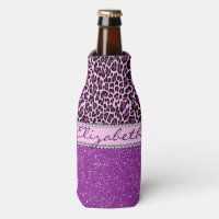 Personalized Purple Leopard Print Glitter Bottle Cooler