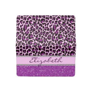 Personalized Purple Leopard Print Glitter Checkbook Cover