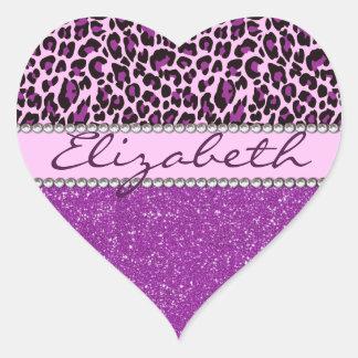 Personalized Purple Leopard Print Glitter Heart Sticker