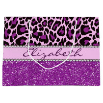 Personalized Purple Leopard Print Glitter Large Gift Bag