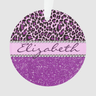 Personalized Purple Leopard Print Glitter Ornament