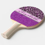 Personalized Purple Leopard Print Glitter Ping-pong Paddle at Zazzle
