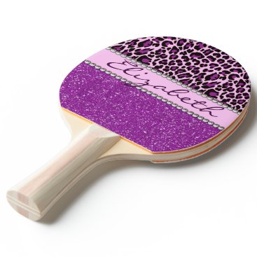 ironydesigns Personalized Purple Leopard Print Glitter Ping-Pong Paddle