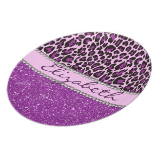 Personalized Purple Leopard Print Glitter Plate