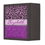 Personalized Purple Leopard Print Glitter Premium Gift Box
