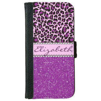 Personalized Purple Leopard Print Glitter Wallet Phone Case For iPhone 6/6s