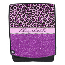 Personalized Purple Leopard Spots Glitter Backpack