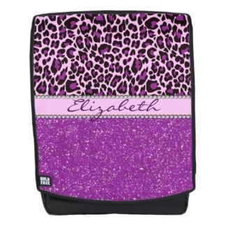 Personalized Purple Leopard Spots Glitter Backpack