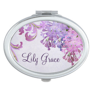 Personalized Purple Lilacs Mirror For Makeup