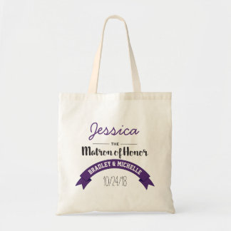 Personalized Purple Matron of Honor Wedding Tote Bag