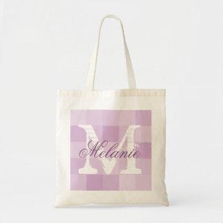 Personalized purple mosaic name monogram tote bag