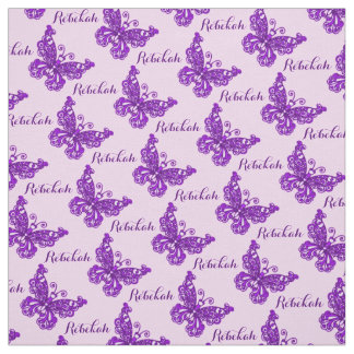 Personalized purple name butterfly inked pattern fabric