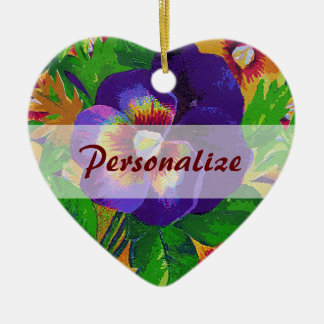 Personalized Purple Pansies Ornament