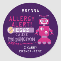 Personalized Purple Pink Robot Egg Allergy Alert Classic Round Sticker