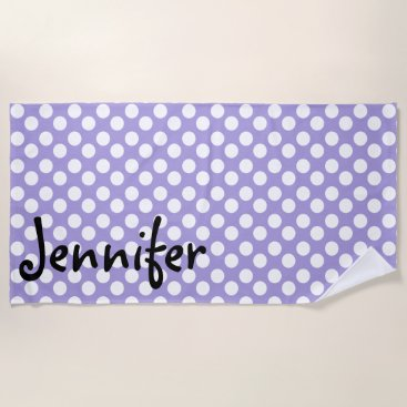 Beach Themed Personalized Purple Polka Dot Beach Towel