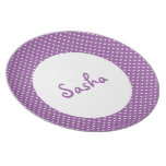 Personalized Purple Polka Dot Kid's Plates
