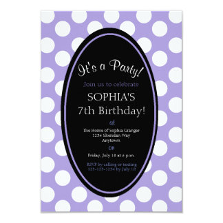 Personalized Purple Polka Dot Party Invitation