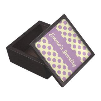 Personalized Purple Polka Dots Jewelry Box Premium Jewelry Box