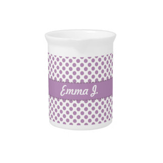 Personalized Purple Polka Dots Pattern Design Drink Pitcher